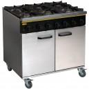Cocina a gas de 6 fuegos de 900 x 805 x 900 mm. con horno de gas natural o propano