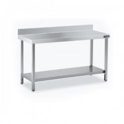 Mesa acero inoxidable con peto y estante 1800 x 500 mm